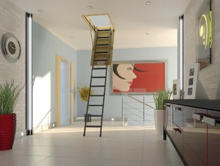 Чердачная лестница FAKRO в интерьере квартиры в Евпатории